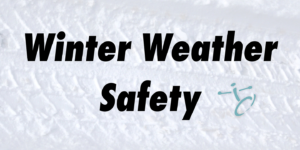 Winter Weather Safety black text on a snow background