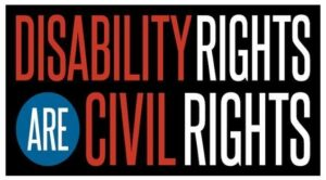 Disability Rights are Civil Rights text on black background