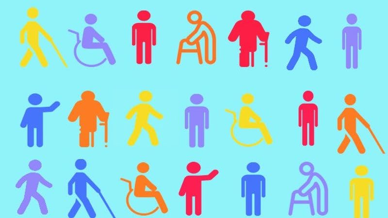 Icons of different disabilities on a light blue background
