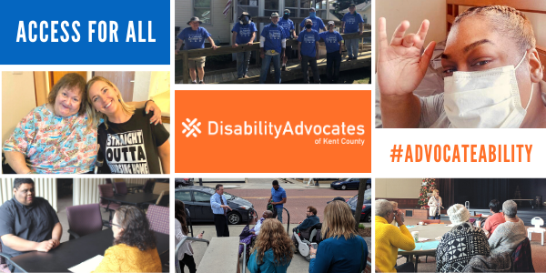 Collage of photos of people Disability Advocates has worked with and our logo in the middle